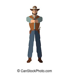 Isolated cowboy cartoon design