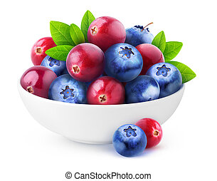 Isolated cranberries and blueberries in a bowl
