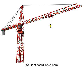 Isolated Crane - Original illustration of an imposing tower...