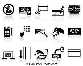 credit card concept icons set - isolated credit card concept...