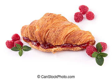 isolated croissant with raspberries