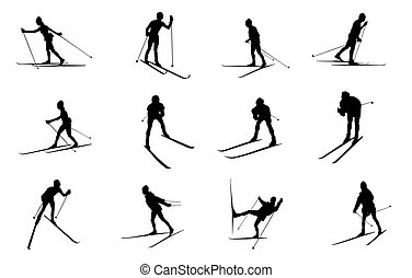isolated cross country skiing silhouettes