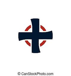 Isolated cross vector logo. Religious logotype. Medical icon.