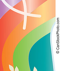Isolated cross with Christian symbols on colorful rainbow...