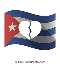Isolated Cuba flag with a broken heart