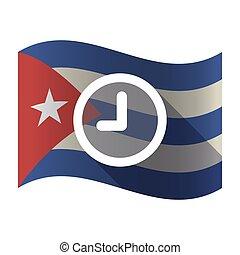 Isolated Cuba flag with a clock
