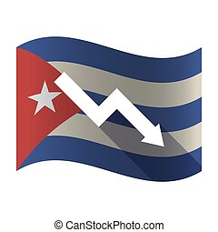 Isolated Cuba flag with a descending graph