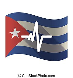 Isolated Cuba flag with a heart beat sign