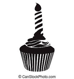 Isolated cupcake silhouette