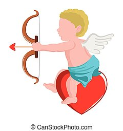 Isolated cupid angel with a bow