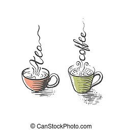 Isolated cups of tea and coffee