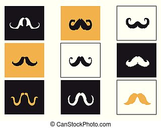 Curly Mustache square button icons set