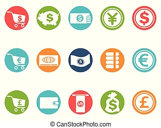 currency round button icons set