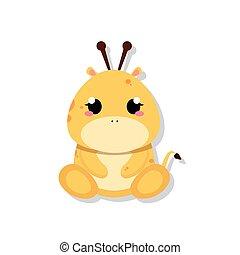 Isolated cute baby giraffe