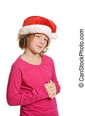 cute girl with santa hat