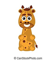 Isolated cute happy giraffe on white background