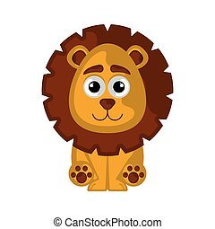 Isolated cute lion on white background