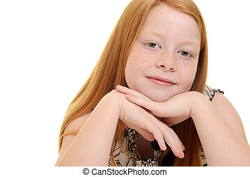 cute little red hair girl portrait