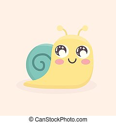isolated., cute, vetorial, caricatura, caracol