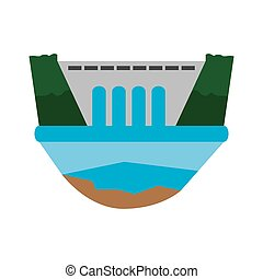 Isolated dam power plant. Energy conceptual image. Vector...