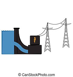 Isolated dam power plant. Vector illustration design
