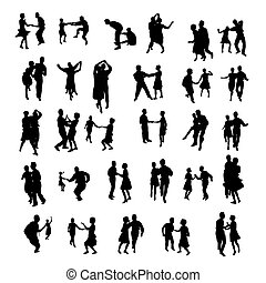 isolated dancing silhouettes