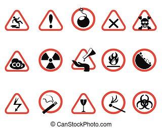 danger icons set, Triangular and circle Warning Hazard Signs