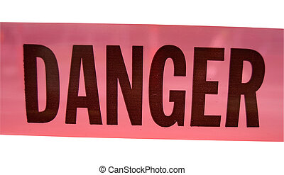Isolation Of A Bright Pink Plastic Danger Sign With Clipping Path
