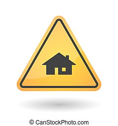 Isolated danger signal icon with a house