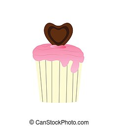 Isolated decorated cupcake
