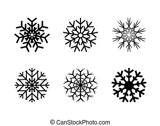 Isolated decorative vector snowflakes winter christmas set.