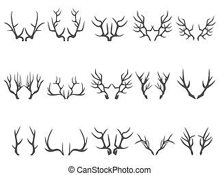 deer horns silhouettes - isolated deer horns silhouettes on...