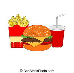 Isolated delicious fast food breakfast menu