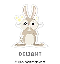 Isolated delightful rabbit on white background. Funny cartoon character.