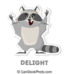 Isolated delightful raccoon on white background. Funny cartoon character.