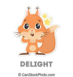 Isolated delightful squirrel on white background. Funny cartoon character.