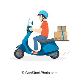 Isolated delivery man.