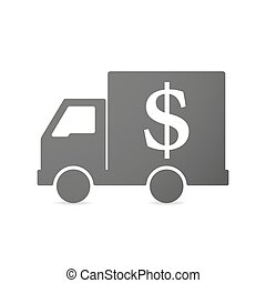 Isolated delivery truck icon with a dollar sign