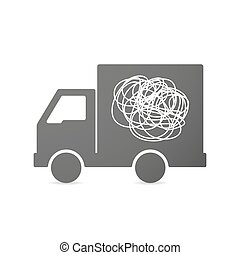 Isolated delivery truck icon with a doodle