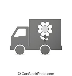 Isolated delivery truck icon with a flower - Illustration of...