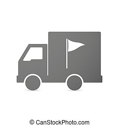 Isolated delivery truck icon with a golf flag