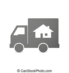 Illustration of an isolated delivery truck icon with a house