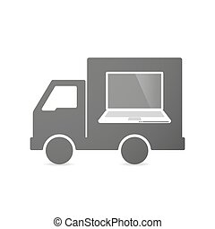 Isolated delivery truck icon with a laptop