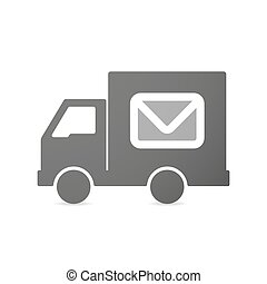Isolated delivery truck icon with an envelope
