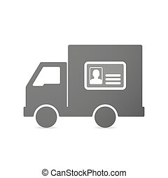 Isolated delivery truck icon with an id card
