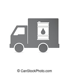 Isolated delivery truck with a barrel of oil