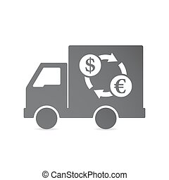 Isolated delivery truck with a dollar euro exchange sign