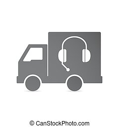 Isolated delivery truck with a hands free phone device