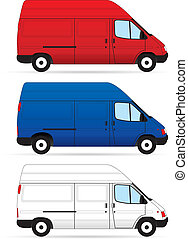 Isolated Delivery Vans on white background. Vector...