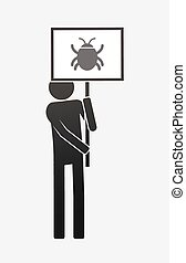 Isolated demonstrator with a bug - Illustration of an ...